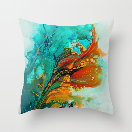 gold and turquoise abstract throw pillow