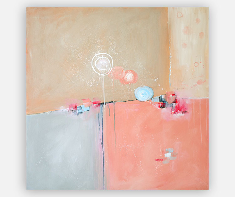 whimsical abstract painting, pink and blue, by Julia Bars
