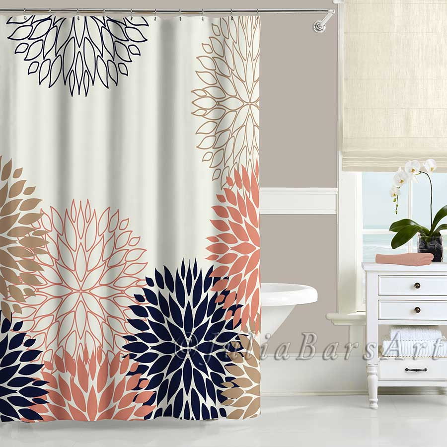 Floral shower curtain in blue, pink and white - Julia Bars Art
