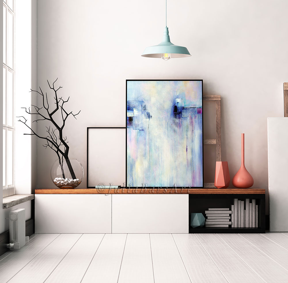 Blue and lavender abstract art print in a black frame - Julia Bars Ar