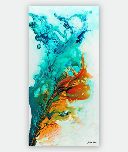 abstract giclee print in teal, turquoise and orange