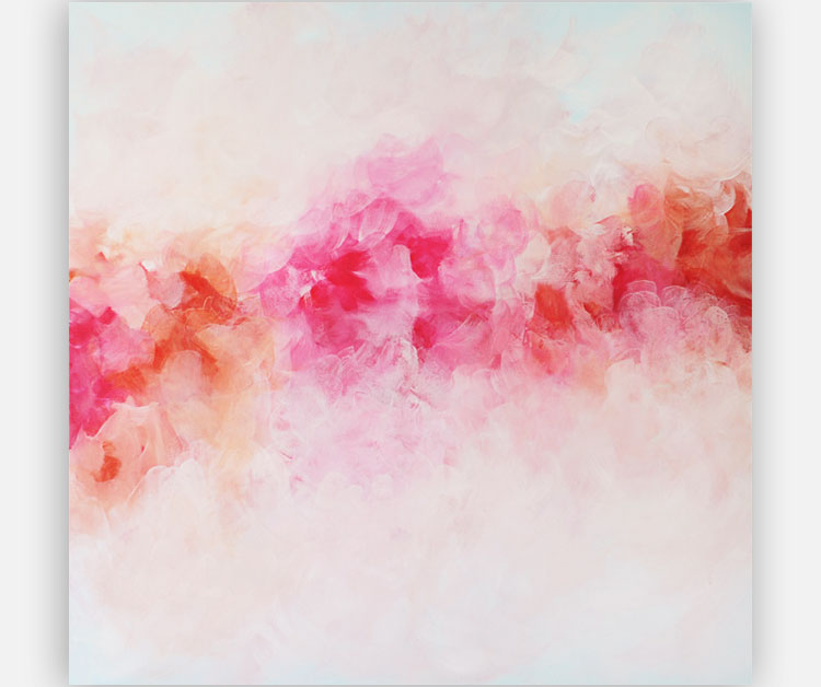 pink peonies art, abstract painting, pink, coral, red by Julia Bars